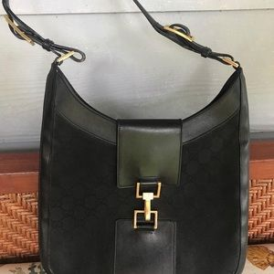 Gucci Bags - GUCCI Jackie O GG Monogram Canvas Leather Bag